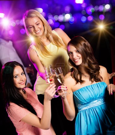 Photo for Group of young girls having fun in club, celebration theme. - Royalty Free Image