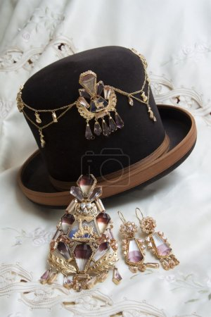 Traditional Bolivian golden jewelry with Bolivianit, South America