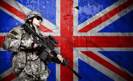 Soldier on England flag background