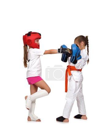 Muay thai boxing girl trains,