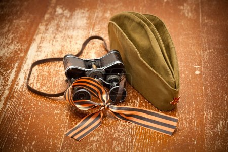 Victory Day on May 9. binoculars, field cap, George Ribbon