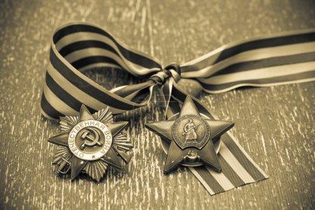 Photo pour Ordre de l'étoile rouge - prix la seconde guerre mondiale. George Ribbon. Fête de la victoire - le 9 mai. Photo par sepia tonifié - image libre de droit