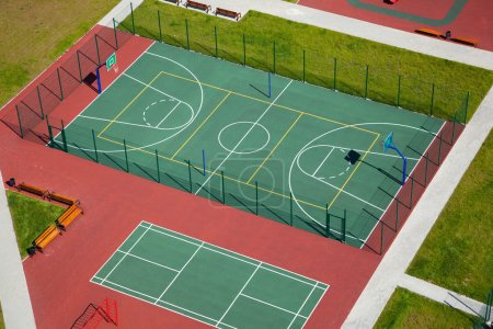 Street basketball court top view. sports ground