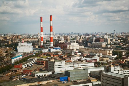industrial city, urban factories, industrial pipes