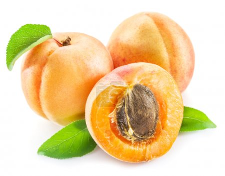 Apricots and its cross-section on the white background.
