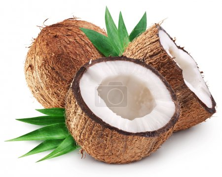 Coconuts and it's half with leaves.