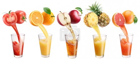 Photo for Fresh juice pours from fruits and vegetables in a glass. Clipping path. On a white background. - Royalty Free Image