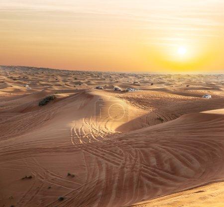 Sundown in desert.