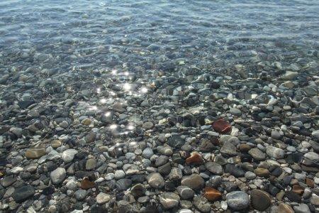 Gravel stones at the sea bottom.