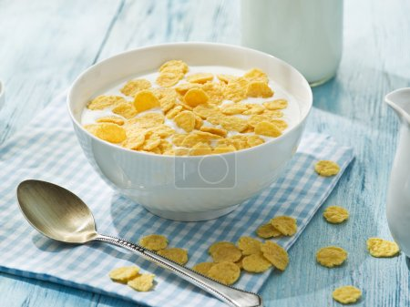 Photo for Cornflakes cereal and milk. Morning breakfast. - Royalty Free Image