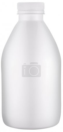 White plastic bottle with cap. File contains clipping paths.