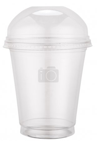 Photo for White plastic cup with cap. File contains clipping paths. - Royalty Free Image