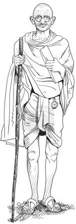 Illustration pour Mohandas Karamchand Gandhi était un avocat indien, nationaliste anticolonialiste et éthicien politique. Vecteur - image libre de droit