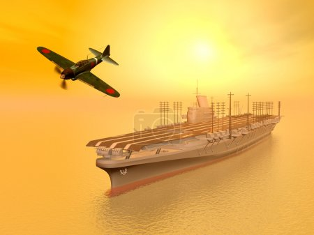 Photo for Computer generated 3D illustration with Japanese Aircraft Carrier and Japanese Fighter Bomber from the second world war - Royalty Free Image