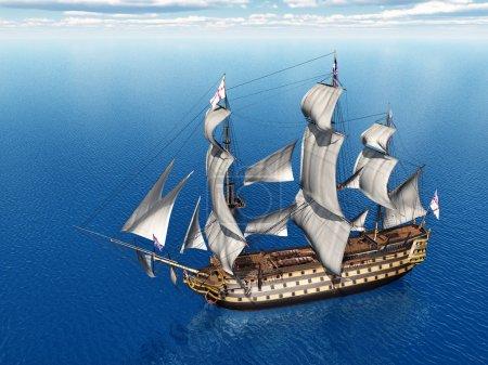 Photo pour Illustration 3D générée par ordinateur avec l'ancien vaisseau amiral britannique HMS Victory - image libre de droit
