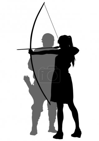 Girl and man whit bow