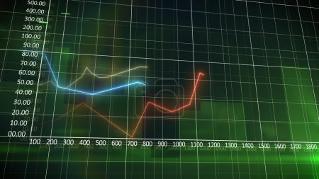 Business chart on a green wall background