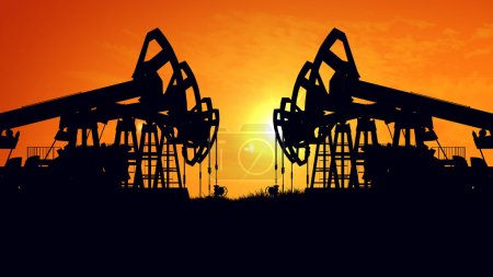 Photo pour Rendement 3D de la machine industrielle d'énergie de plate-forme pétrolière de pompe à huile pour le pétrole au coucher du soleil - image libre de droit