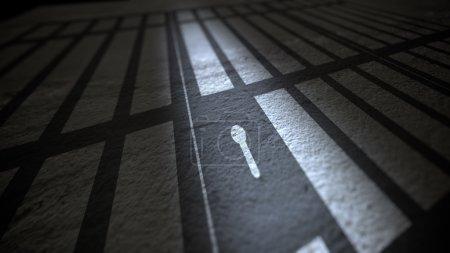 Shadow of Jail Bars and Lock.