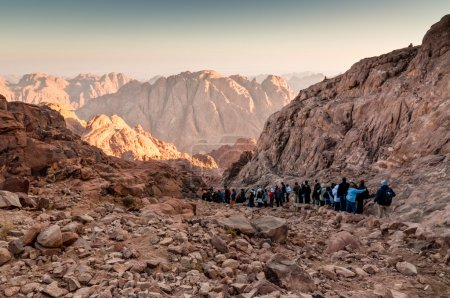Pilgrims and tourists on the pathway from the Mount Sinai peak