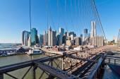 Dolní Manhattan panoráma z mostu Brooklyn, New York Ci