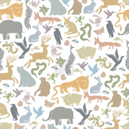 Illustration for Animals Silhouettes Seamless Pattern - Royalty Free Image