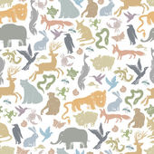 Animals Silhouettes Seamless Pattern