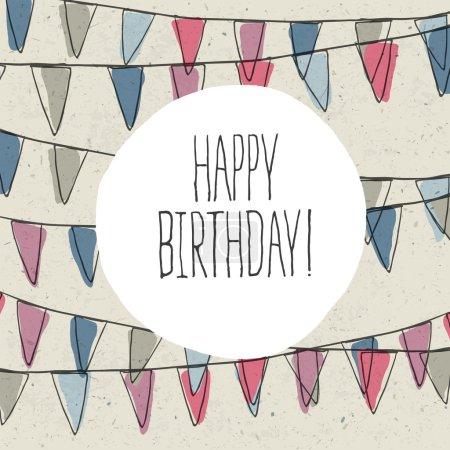 Ilustración de Letras de feliz cumpleaños en vacaciones banderín del empavesado - Imagen libre de derechos
