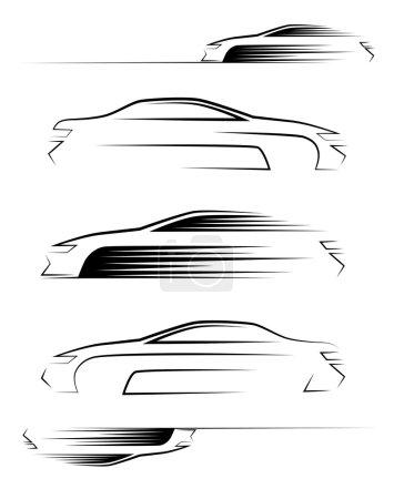 Illustration pour Ensemble de silhouettes de voiture. Vue latérale. Illustration vectorielle - image libre de droit