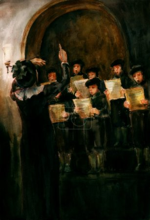 Photo pour Children sing in the hall, dressed in medieval style, holding music sheets in their hands. Conductor is staying in front of the choir gesticulating. Watercolor illustration. - image libre de droit