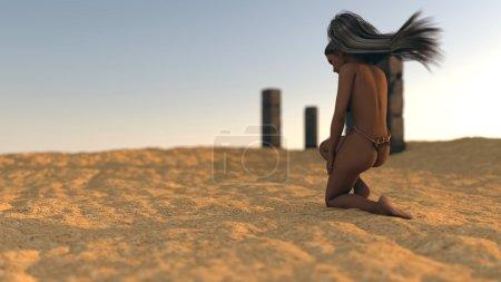 Photo pour Fantaisie fille mystère dans le désert sur fond de ruines - image libre de droit