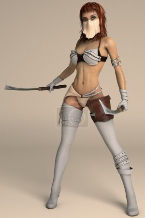 Warrior girl posing with two swords