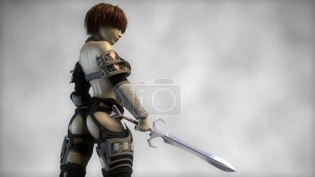 warrior girl in heavy armor