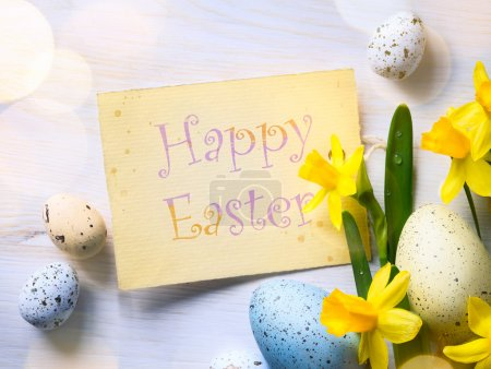 Photo for Easter Background with easter eggs and spring flowers - Royalty Free Image