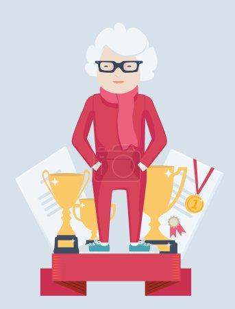 Elderly woman on a winners podium