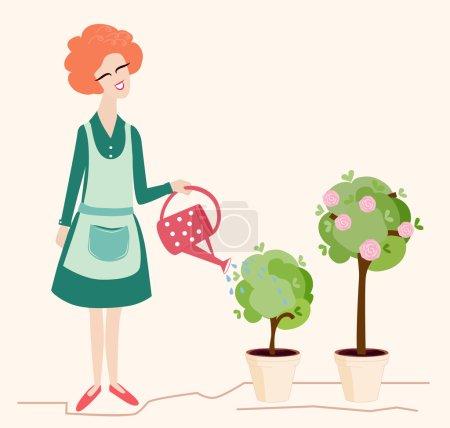 Illustration pour Illustration de jardinage de printemps représentant une jolie femme souriante arrosant ses arbres en pot en fleurs avec un arrosoir à pois rouges - image libre de droit