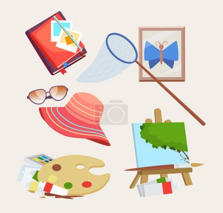 Set of icons for summer activities