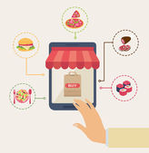 Shopping for online food concept with a man touching a buy button on the computer screen with food icons depicting pizza meat cheeseburger sushi and a plate of food around it vector illustration