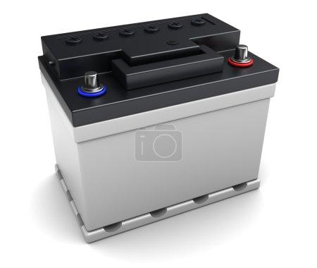 Photo pour Illustration 3d de batterie de voiture 12v sur fond blanc - image libre de droit