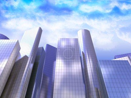 Photo pour Illustration 3D de gratte-ciel sur fond de ciel - image libre de droit