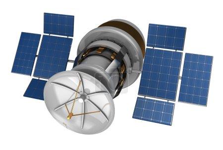 3d satellite on white