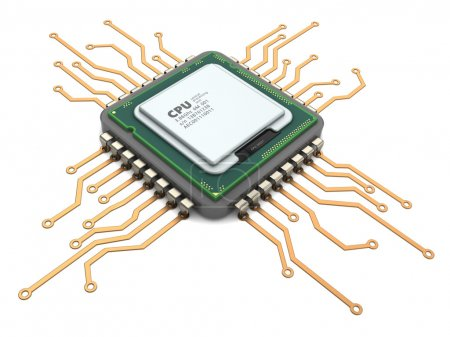 Photo for 3d illustration of modern computer chip processor over white - Royalty Free Image