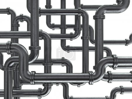 Photo pour Illustration 3D du fond des tuyaux en acier - image libre de droit
