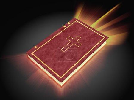 Photo pour Illustration 3D de la bible sainte brillante, sur fond sombre - image libre de droit