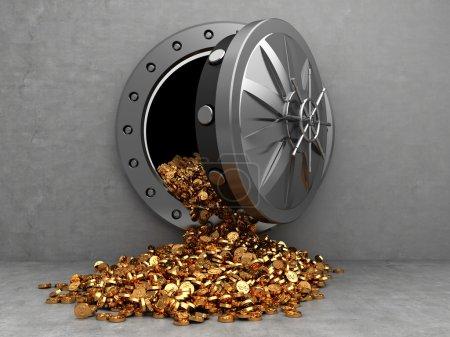 Photo pour Illustration 3D de la porte du coffre ouvert et des pièces d'or - image libre de droit