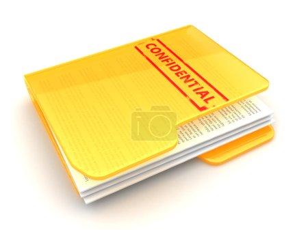 Photo pour 3D illustration du dossier de documents confidentiels, sur fond blanc - image libre de droit