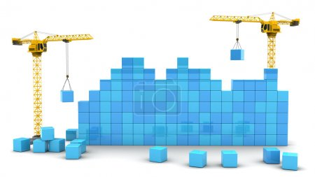 Two cranes building cubes wall