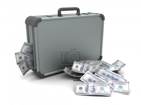 Photo pour Illustration 3D de valise fermée avec de l'argent, sur blanc - image libre de droit