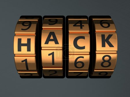 Code lock with text 'hack'
