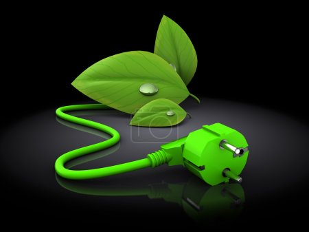 Photo for 3d illustration of green plug with green leaves over black background - Royalty Free Image
